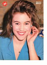 Alyssa Milano teen magazine pinup clipping touching her earring blue shirt 16 ma