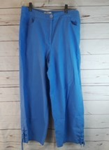 Talbots Womens Size 8 Periwinkle Blue Casual Capri Pants 100% Cotton Cap... - $9.49
