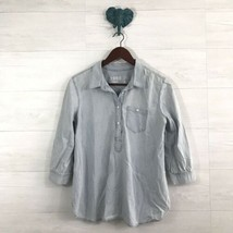 Gap 1969 Small Chambray Light Wash Half Button 3/4 Sleeve Popover Blouse Womens - $13.78