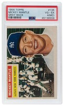 Mickey Mantle New York Yankees 1956 Topps #135 Baseball Card VG EX 4 Slabbed PSA - $1,454.95