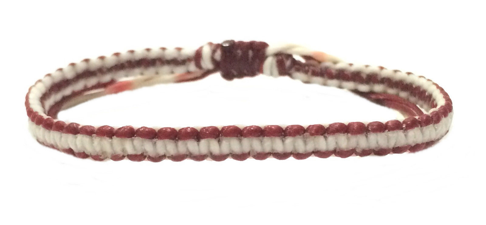 Red White Cord Weave Mens Cotton Adjustble Wristband Handcrafted Bracelet
