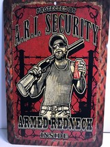 Home Decor Man Cave Decor Tin Sign A.R.I. Security Armed Redneck, Size 8... - $12.99