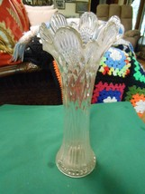 Beautiful Collectible Vintage Clear ART GLASS  Swung VASE.................. - $11.09
