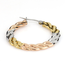 Interwoven Tri-Color Silver, Gold & Rose Tone Hoop Earrings- United Elegance image 4
