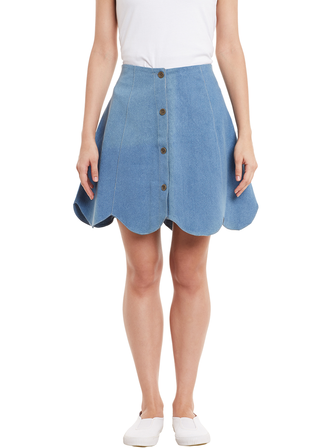 Rider Republic Women's Blue Flare Pleated Skater Skirt