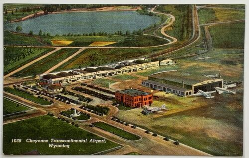Primary image for Old Linen Era Postcard Aerial View Cheyenne Transcontinental Airport, Wyoming