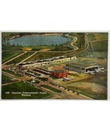 Old Linen Era Postcard Aerial View Cheyenne Transcontinental Airport, Wy... - $11.71