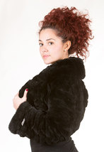 Luxury gift/ Black Rex Fur Bolero /Bell Bottom Sleeves Women's Brand New /Weddin image 2