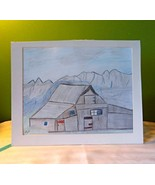 Old Barn in the Mountains Art Sketch, 8 x 10, hand drawn and signed - $19.00