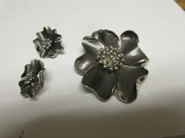 Costume Jewelry ,Vintage , Pin , Earrings , Deep Silver Tone - $35.00