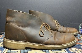 Men's Clarks Classic Brown Oiled Leather Chukka Boot Sz. 12M Excellent! - $35.26
