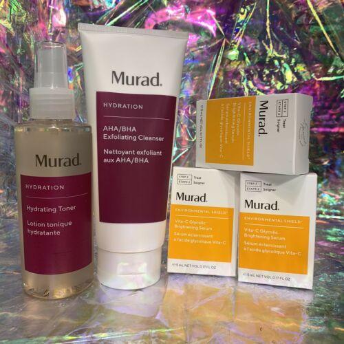Full Sz NIB Murad ExfoliatingToner, Exfoliating Cleanser, Vit C Glycolic Serum