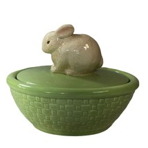 Hallmark Bunny Rabbit Ceramic covered candy dish Green Easter Weaved Bas... - $10.88