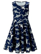 RAISEVERN Toddler Girl Dress Summer Dark Navy Blue Shark Dress Playwear ... - $19.76