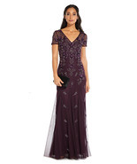 Adrianna Papell Floral Beaded Godet Gown With Sheer Short Sleeves In Nig... - $236.61+