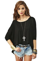 Women's Plain Loose Fit Draped Oversized T Shirt Batwing Slouch Top 8 - ... - $16.99