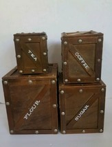 Mid Century Wood Canister Set of 4 Flour Sugar Coffee Tea - $98.99
