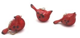 "3 Vintage Ceramic Ornaments Cardinal Red Bird w/ Red Glitter 5""L 3""H - $35.99"