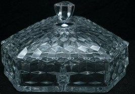 Fostoria AMERICAN Clear Glass Three-Part Divided Candy Dish w/  Lid Cubed - $69.00