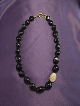 Nolen Miller Hand Knotted Black Bead Pave Crystal Grand Stand Necklace - $40.10