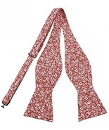 PenSee Men's Self Bow Tie Floral Cotton Bowtie-Various Styles (Red White - $26.76