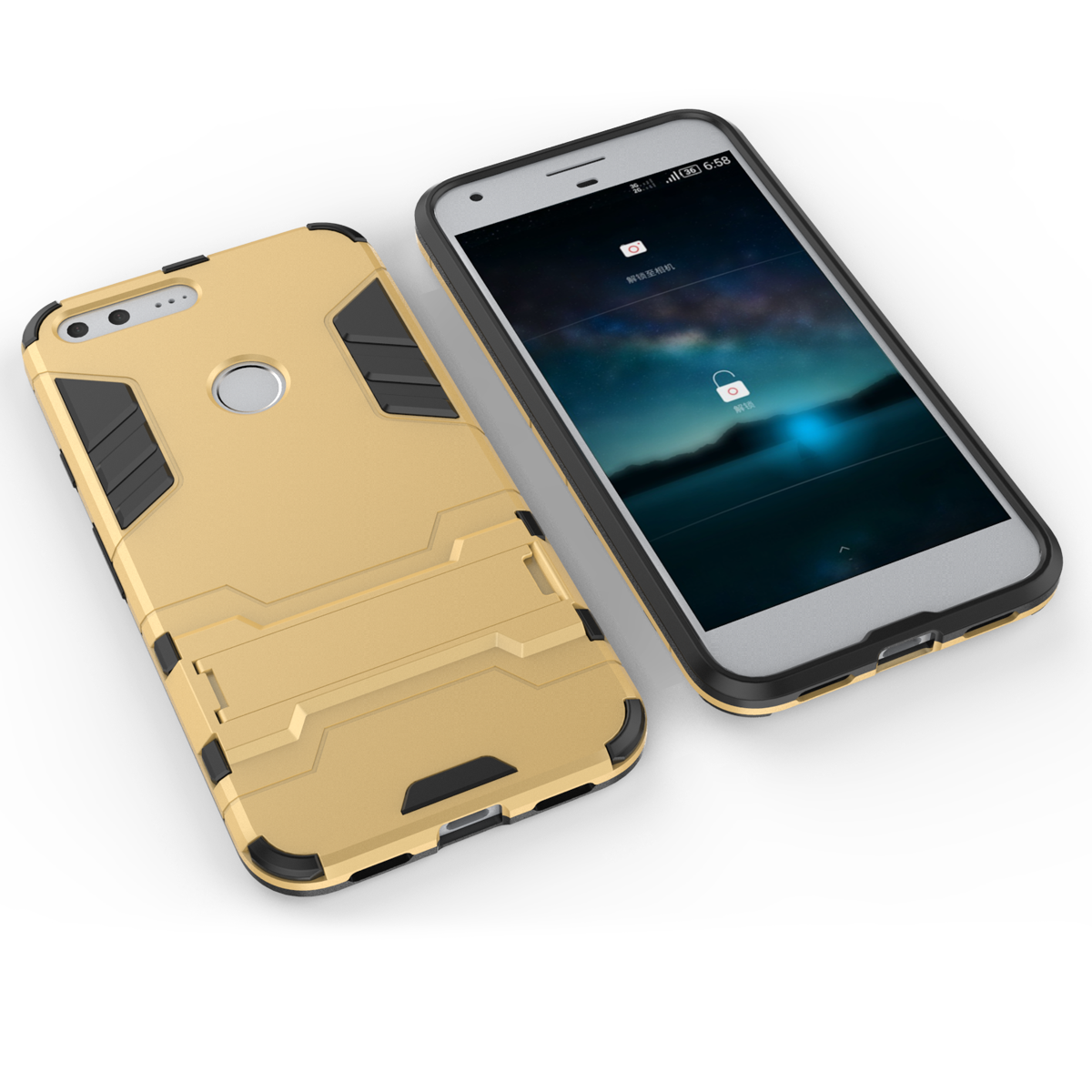 Defender Kickstand Protective Cover Case For Google Pixel XL 5.5inch - Gold