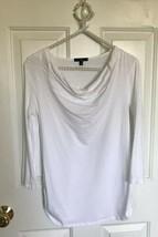 The Gap Cowl Drape Neck Top White XS Collar 3/4 sleeve length cotton viscose - $4.97