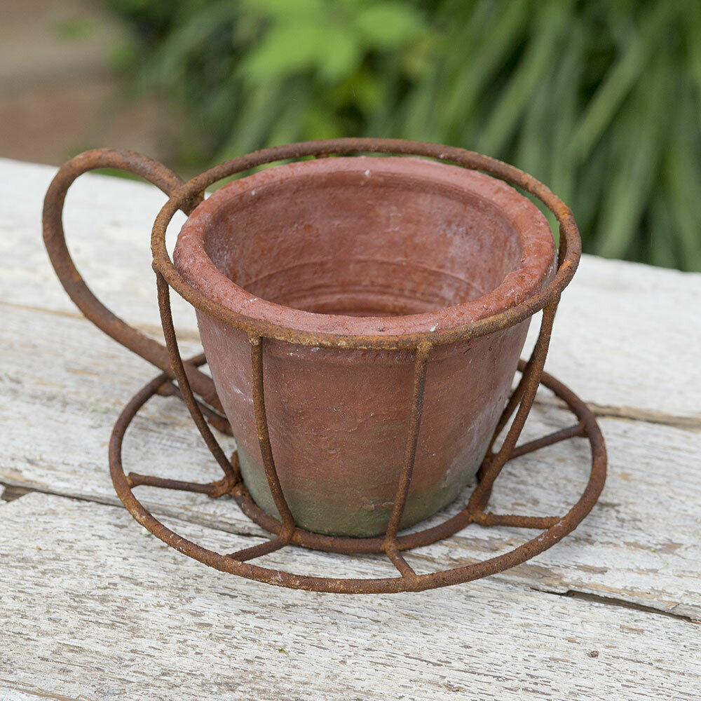 Country ESPRESSO CUP FLOWER POT Planter Farmhouse Primitive Rustic Terra Cotta