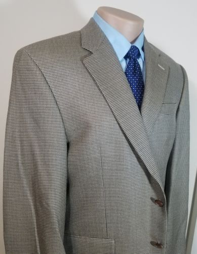 LAUREN RALPH LAUREN MACY'S MENS SPORTS COAT HOUNDSTOOTH BEIGE WOOL SILK RN 69456