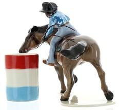 Hagen-Renaker Specialties Ceramic Horse Figurine Rodeo Barrel Racer with Barrel image 7