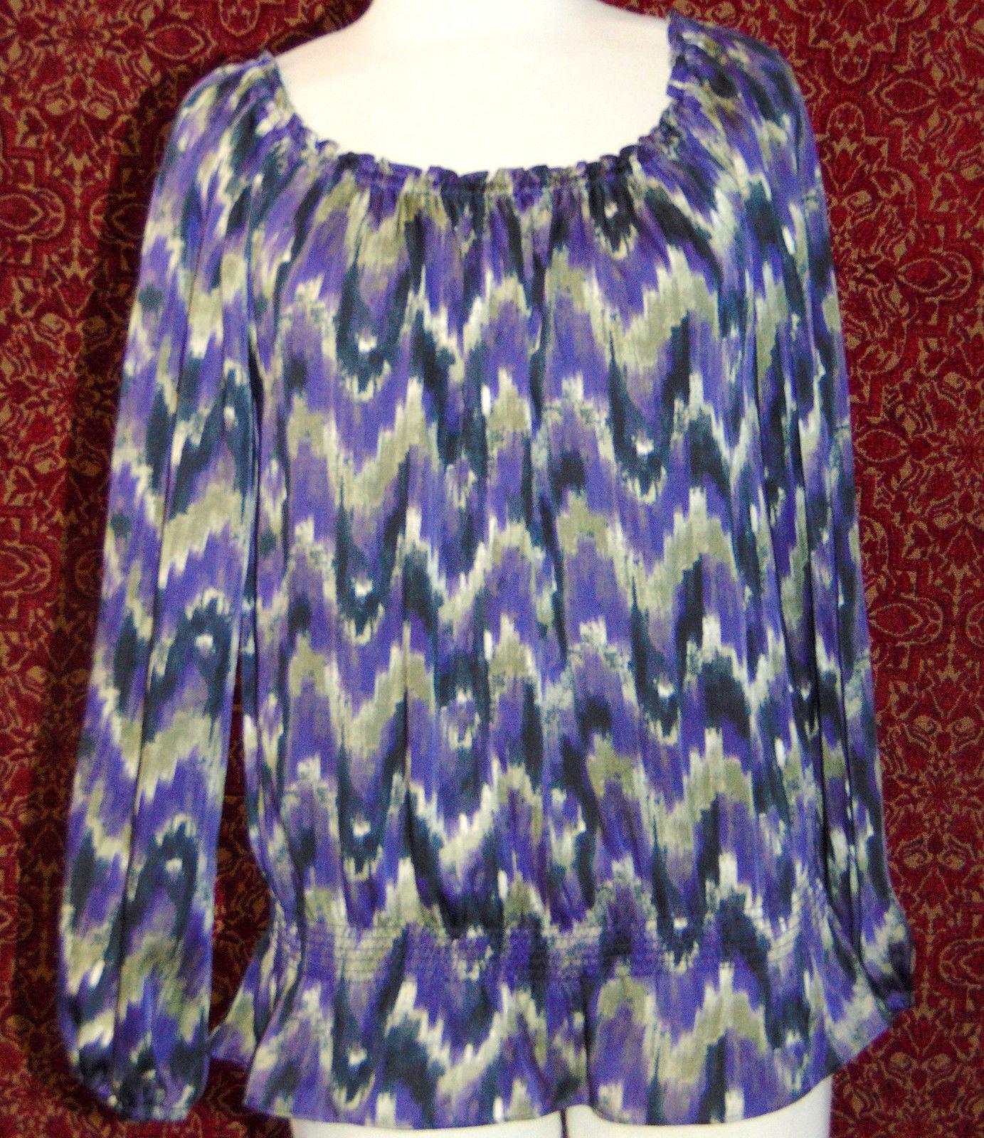 MICHAEL KORS purple polyester long sleeve blouse M (T47-01C8G) image 2