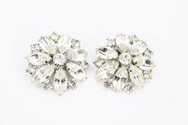 "Vtg WEISS Earrings  Marquise White RHINESTONE Flower Clip On 1.5"" Signed... - $98.00"