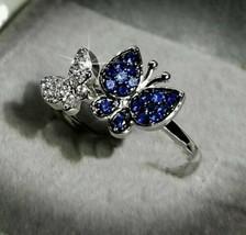 0.41CT Round Cut Diamond & Sapphire Butterfly Inspire Ring 14K White Gol... - $98.01