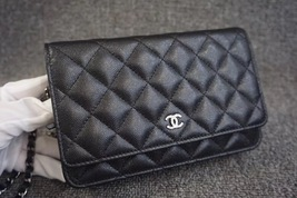 100% AUTH CHANEL 2018 Black Caviar Leather WOC Wallet on Chain WOC Bag SHW image 8