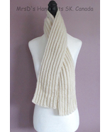 Scarf 49 Inch Aran Cream Color Handknit Ribbed Scarf - $21.00