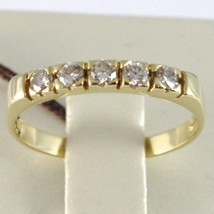 18K YELLOW GOLD BAND RING WITH 5 DIAMONDS, 0.25 CT ENGAGEMENT, MADE IN ITALY image 1