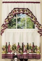 "3 Pc Kitchen Curtains Tier & Swag (57""x30"") Set, Wine & Grapes,Chardonnay, Achim - $22.76"