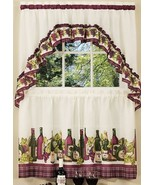 "3 Pc Kitchen Curtains Tier & Swag (57""x30"") Set, WINE & GRAPES,CHARDONNA... - $22.76"