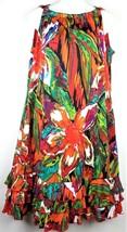R&K Originals Sleeveless Watercolor Dress L Large Ruffled Hem Vibrant Fl... - $18.44