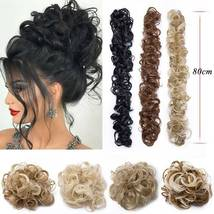 100% Real LARGE Thick Messy Bun Hairpiece NaturalHair Extension Curly