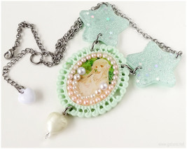 Chobits Chii Necklace, Mint Green Bib Necklace, Glitter Stars - Sweet Lo... - $28.00