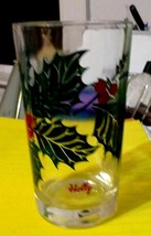 """Vintage 5"""" Tall Green Holly Red Berry Boscul Peanut Butter Drink Glass T... - $10.00"""