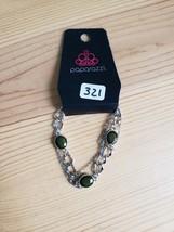 Paparazzi Bracelet(New)Silver W/ Green Gems 321 - $7.69