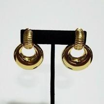Vintage Monet ~ Gold Tone Door Knocker Style Clip Earrings - $19.99