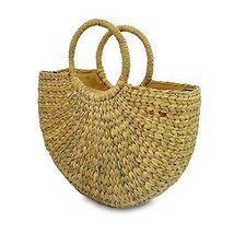 Handwoven Straw Tote Purse Bag, Boho Summer Beach Picnic Basket Natural ... - $37.99