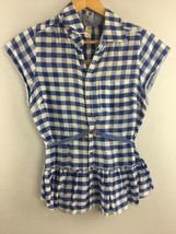 Free People Top XS Cap Sleeve Blue Check Crochet Ruffle Linen Blend Shir... - $19.80