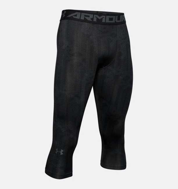 Primary image for Under Armour Mens HeatGear Armour ¾ Leggings 1291329-009 Black Multi Sizes NWT