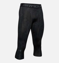 Under Armour Mens HeatGear Armour ¾ Leggings 1291329-009 Black Multi Siz... - $21.04