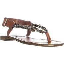 Steve Madden Foolish Flat Buckle Sandals, Cognac Multi, 7.5 US - $26.87