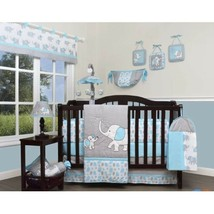 Green Gray Chevron 13pc Crib Bedding Set Baby Unisex Nursery Quilt Bumper Diaper